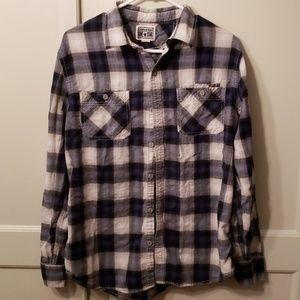 Converse long sleeve plaid button down shirt.